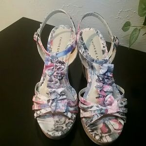 Chinese Laundry Floral Sling Back Heels SZ7